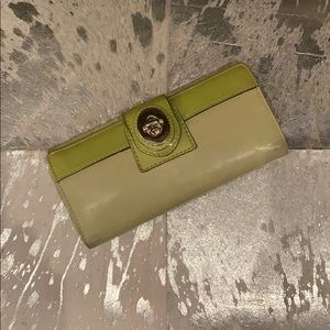 Coach Lime Green Leather Wallet with Patent Strip